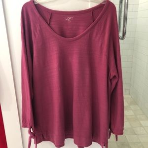 LOFT Rose Pink Knit—3/4 sleeves w/ties XL